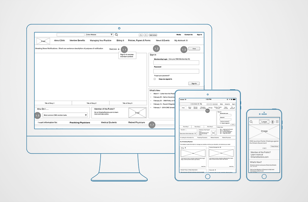 OMA wireframes